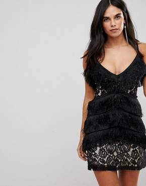 photo Cami Tassel Lace Mini Dress by Club L, color Black - Image 1