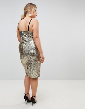photo Cami Strap All Over Sequin Dress by Club L Plus, color Gold - Image 2