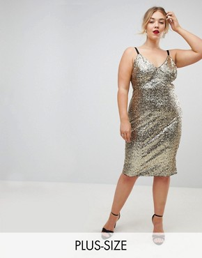 photo Cami Strap All Over Sequin Dress by Club L Plus, color Gold - Image 1