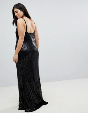 photo Cami Strap All Over Sequin Maxi Dress by Club L Plus, color Black - Image 2