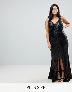 photo Cami Strap All Over Sequin Maxi Dress by Club L Plus, color Black - Image 1