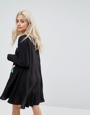photo Embroidered Mini Drop Waist Dress by ASOS PETITE, color Black - Image 2