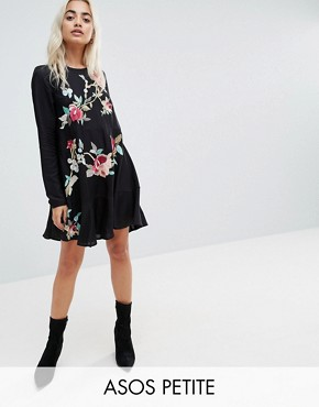 photo Embroidered Mini Drop Waist Dress by ASOS PETITE, color Black - Image 1