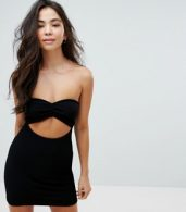 photo Crinkle Bandeau Beach Dress with Cut Out by ASOS, color Black - Image 1
