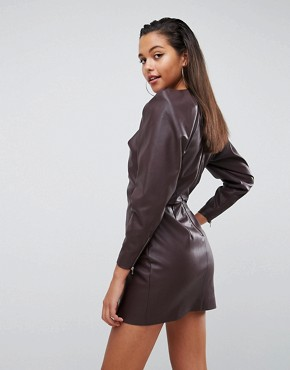 photo Faux Leather Shoulder Pad Long Sleeve Shift Mini Dress by ASOS EDITION, color Oxblood - Image 2