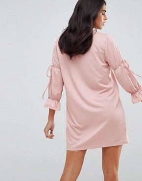 photo Tie Sleeve Detail Dress by Vero Moda, color Pearl Blush - Image 2
