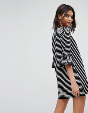 photo Stripe Shift Dress with Fluted Sleeve by Vero Moda, color Black - Image 2