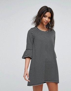 photo Stripe Shift Dress with Fluted Sleeve by Vero Moda, color Black - Image 1