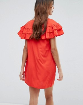 photo Ruffle Panel Dress by Vero Moda, color High Risk Red - Image 2