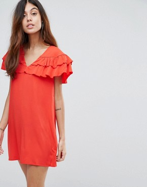 photo Ruffle Panel Dress by Vero Moda, color High Risk Red - Image 1