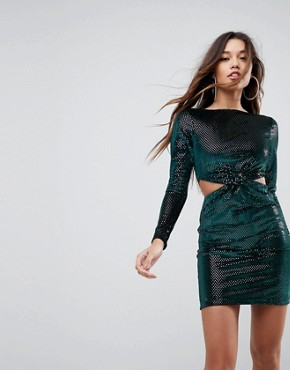 photo Twist Front Cut Out Glitter Velvet Mini Dress by ASOS, color Green - Image 1