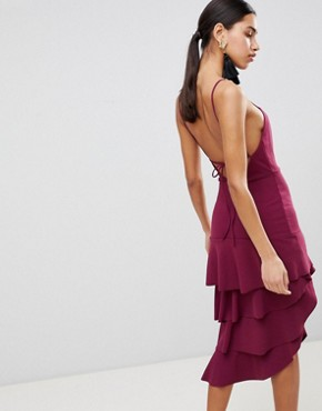 photo High Neck Extreme Tiered Midi Dress by ASOS, color Oxblood - Image 2