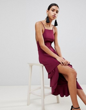 photo High Neck Extreme Tiered Midi Dress by ASOS, color Oxblood - Image 1