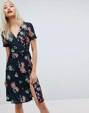 photo Midi Wrap Dress in Mixed Floral Print by ASOS, color Floral Print - Image 1