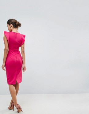 photo Scuba Midi Pencil Dress with Frill Sleeve by ASOS, color Deep Pink - Image 2