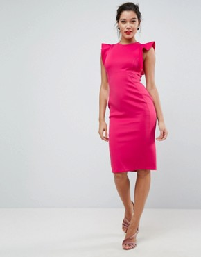 photo Scuba Midi Pencil Dress with Frill Sleeve by ASOS, color Deep Pink - Image 1