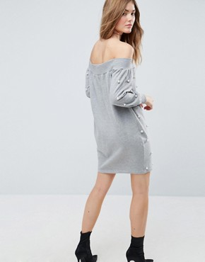 photo Off Shoulder Mini Sweat Dress with Pearl Details by ASOS, color Grey - Image 2