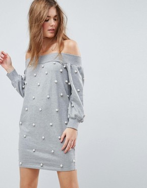 photo Off Shoulder Mini Sweat Dress with Pearl Details by ASOS, color Grey - Image 1