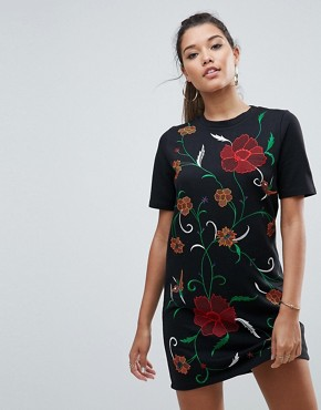photo T-Shirt Sweat Dress with Embroidery by ASOS, color Black - Image 1