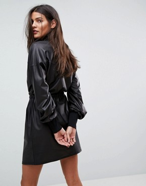photo Faux Leather Track Dress by ASOS, color Black - Image 2