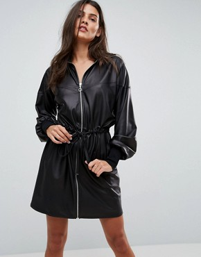 photo Faux Leather Track Dress by ASOS, color Black - Image 1
