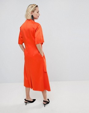 photo Satin Tuck Detail Midi Dress by ASOS WHITE, color Red - Image 2