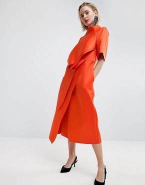 photo Satin Tuck Detail Midi Dress by ASOS WHITE, color Red - Image 1