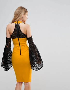 photo Cold Shoulder Lace Bell Sleeve Dress by Vesper, color Mustard Yellow - Image 2