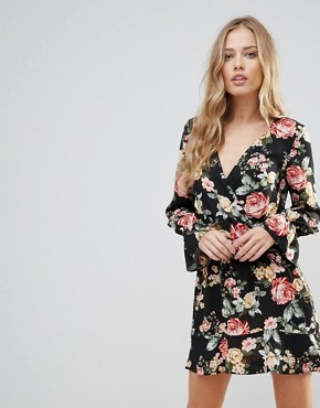 photo Floral Wrap Frill Long Sleeve Dress by Oh My Love, color Red Winter Floral - Image 1