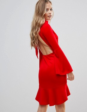 photo Pephem Midi Dress with Flare Sleeve by Oh My Love, color Red Scuba - Image 2