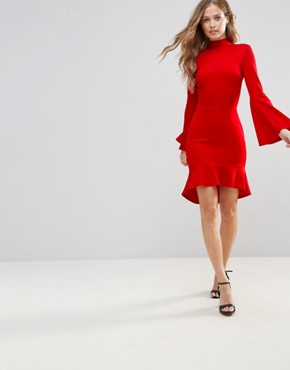 photo Pephem Midi Dress with Flare Sleeve by Oh My Love, color Red Scuba - Image 4
