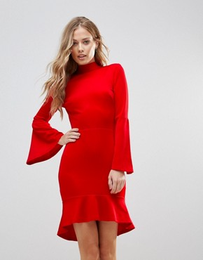 photo Pephem Midi Dress with Flare Sleeve by Oh My Love, color Red Scuba - Image 1