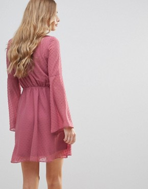 photo Textured Flare Sleeve Baby Doll Dress by Oh My Love, color Pink Spot Chiffon - Image 2