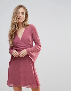 photo Textured Flare Sleeve Baby Doll Dress by Oh My Love, color Pink Spot Chiffon - Image 1