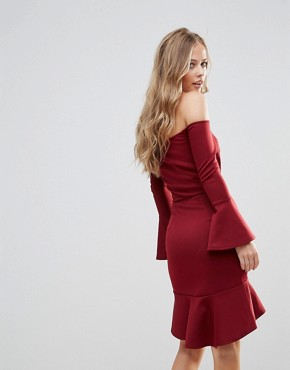 photo Off Shoulder Flute Sleeve Mini Dress by Oh My Love, color Wine Scuba - Image 2