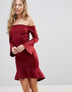 photo Off Shoulder Flute Sleeve Mini Dress by Oh My Love, color Wine Scuba - Image 1