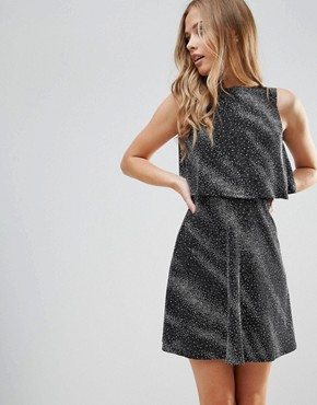 photo Open Back Skater Dress with Overlay by Oh My Love, color Black/Silver Metallic - Image 2