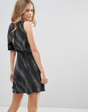 photo Open Back Skater Dress with Overlay by Oh My Love, color Black/Silver Metallic - Image 1
