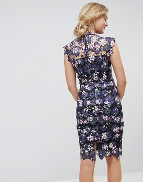 photo High Neck Floral Crochet Lace Midi Dress by Paper Dolls Tall, color Plum - Image 2