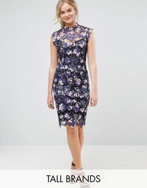photo High Neck Floral Crochet Lace Midi Dress by Paper Dolls Tall, color Plum - Image 1