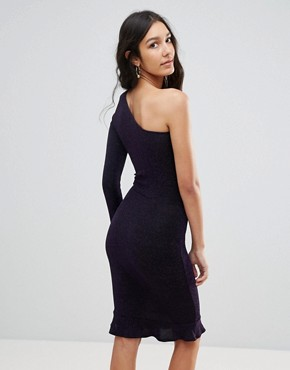 photo One Shoulder Pephem Bodycon Dress by Oh My Love Tall, color Purple Metallic - Image 2