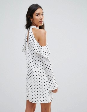photo Halterneck Frill Long Sleeve Shift Dress in Polka Dot by Oh My Love Tall, color White Spot - Image 2