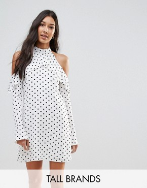 photo Halterneck Frill Long Sleeve Shift Dress in Polka Dot by Oh My Love Tall, color White Spot - Image 1
