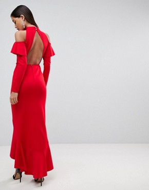 photo Extreme Ruffle Open Back Maxi Dress by ASOS, color Red - Image 2