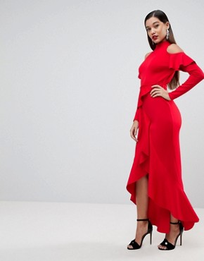 photo Extreme Ruffle Open Back Maxi Dress by ASOS, color Red - Image 1