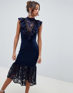 photo Lace Bib Bodycon Pephem Midi Dress by ASOS, color Navy - Image 1