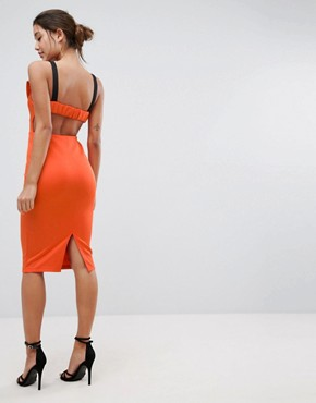 photo Bow Bust Strappy Midi Bodycon Dress by ASOS, color Fiery Red - Image 2
