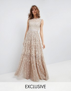 photo High Neck Maxi Gown with Embroidery and Embellishment by Needle & Thread, color Beige - Image 1