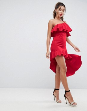 photo High Low Ruffle Bodycon Mini Dress by ASOS, color Red - Image 1