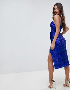 photo All Over Sequin Cami Midi Pencil Dress by ASOS, color Cobalt - Image 2